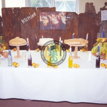 Kumina table  show cased at an exhibition on Kumina at the offices of the African Caribbean Institute of JamaicaJmaica Memory Bank.jpg